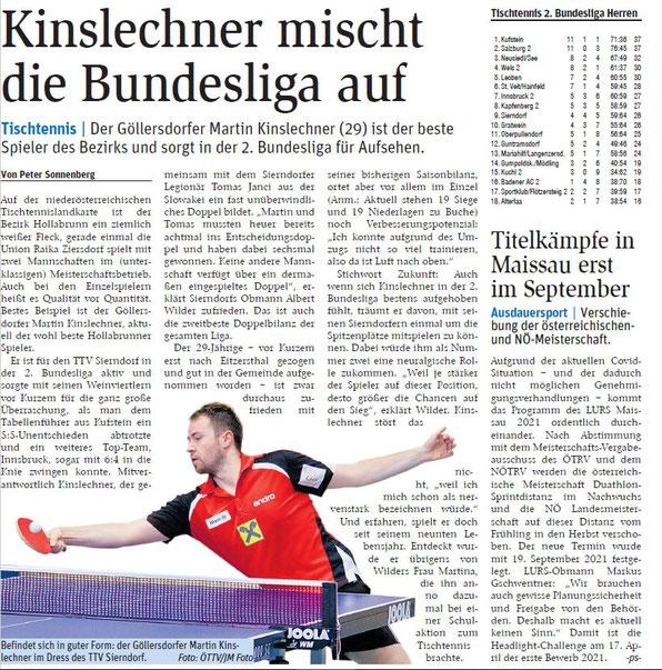 Bester Spieler aus dem Bezirk Hollabrunn ist TTV-Bundesliga-Crack Martin Kinslechner. Der gebürtige Sierndorfer übersiedelte in den Nachbarbezirk.