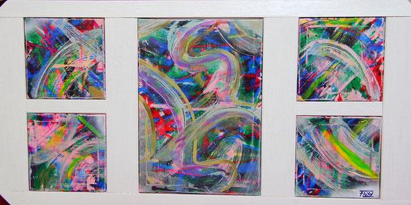 Aus fünf Leinwänden bestehende Farbgewaltige Arbeit von Andreas Alka alias FLoYd. Eingebettet in einer weiß lackierten Holzrahmenkonstruktion.