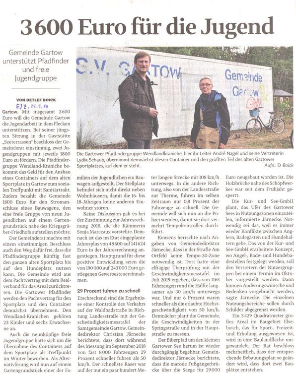 """Pfadfindergruppe der """"Wendland Kraniche"""" im Samtgemeinde Bote der Elbtalaue Gartow, Ausgabe: 25.1.2019, Nr. 01"""
