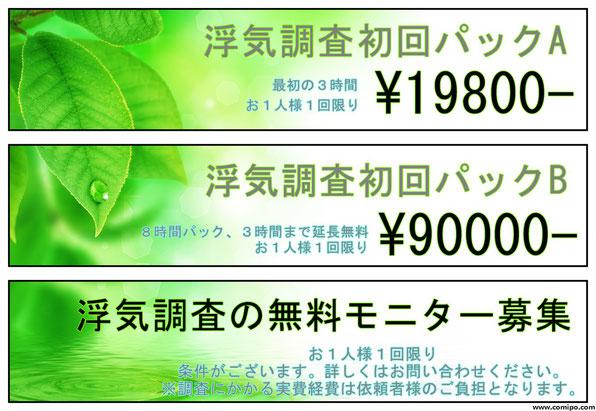 浮気調査初回パック19800円横浜市限定