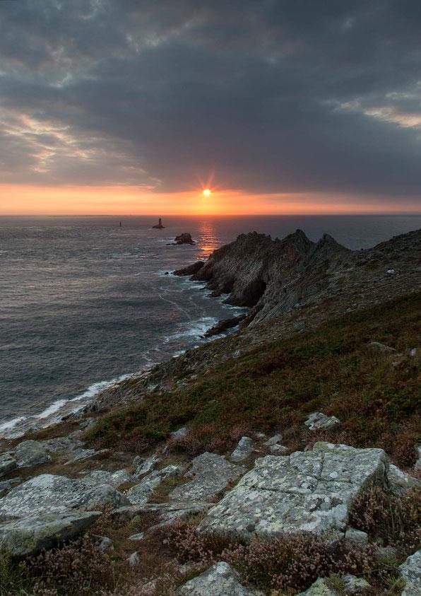 Dramatic & beautiful sunset at the rocky Pointe du Raz, Bretagne, Brittany, France