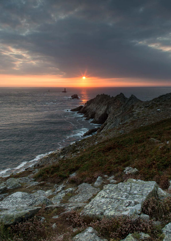 Dramatic & beautiful sunset at the rocky Pointe du Raz, Bretagne, Brittany, France