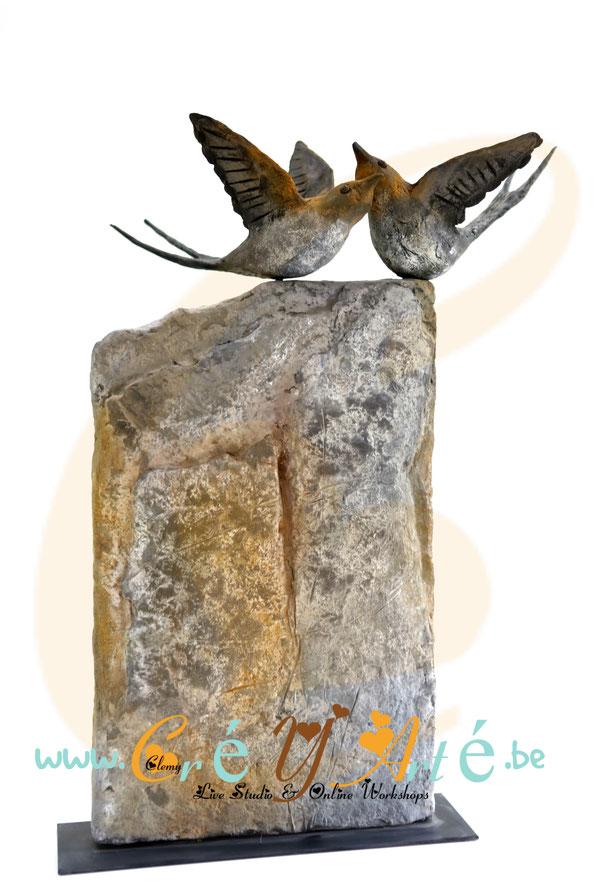 www.creyarte.be - POWERTEX - WORKSHOP - LOVE BIRDS