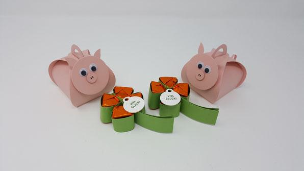 Glücksbringer, Silvester, Neujahr, Stampin' Up!, Kleeblatt, Ferrero Küsschen, Schweinchen, Box, Stempelkiste