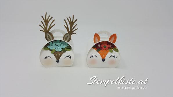 Claudia Fuchs Papierdesign, CASE, Zierschachtel, Fuchs, Reh, Verpackung, Winter, Weihnachten, Stampin Up, Stempelkiste