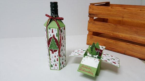 Flaschenbox; Flaschenverpackung; Würfelkarte; Karte; Stampin Up; Stempelkiste