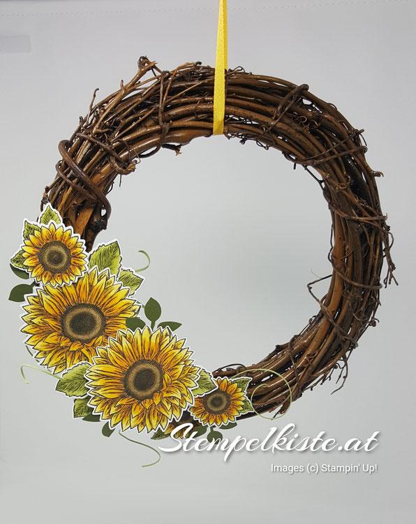 Türkranz, Home Deko, Gute Laune Gruß, Sonnenblumen, Stempelkiste, Stampin Up,