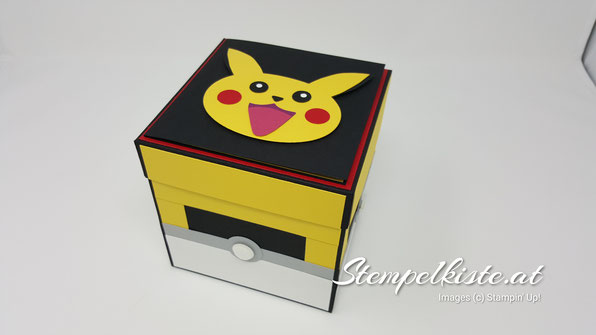 Geschenkbox, Explosionsbox, Kindergeburtstag, Pokémon, Pikatchu, Punchart, Stempelkiste, Stampin Up