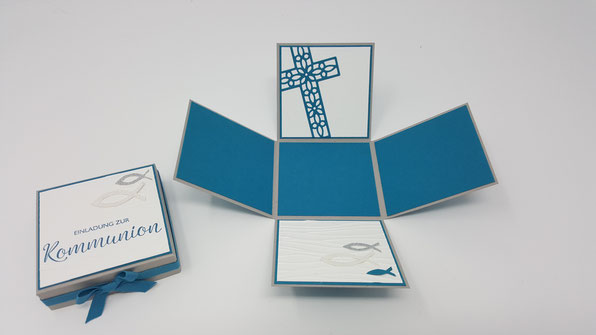 Explosionsbox, Kommunion, Einladung, Kreuz der Hoffnung, Stampin' Up!, Stempelkiste, Auftrag
