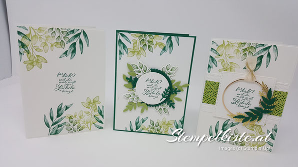 Ewiges Grün ; Für alle Zeit, Katalogparty, Stampin Up, Glückwunsch, Karten, Stempelkiste