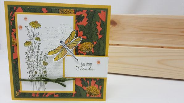 Libellengarten, Marienkäfer, Wünsche, Frühling, Leinenband, waldmoos, Blumen, Geburtstag, Karte, Minikatalog, Stampin Up, Stempelkiste