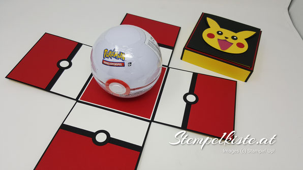Pokémon, Pokéball, Geschenkverpackung, Pikatchu, Explosionsbox, Kinder, Geburtstag, Stempelkiste, Stampin Up, Punchart