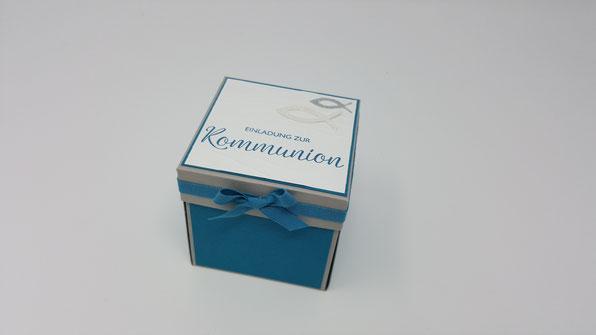 Kommunion, Explosionsbox, Box, Einladung zur Kommunion, Stampin Up, Stempelkiste