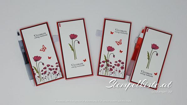 painted poppies, Mohnblumen, Blumen, Schmetterlingsglück, Stampin Up, Kellnerblock, Notizblock, Einkaufsliste, Stempelkiste, Mitbringsel