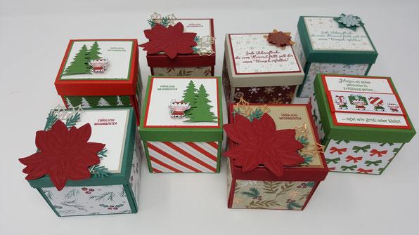 Weihnachten, Weihnachtsstern, 15 Minuten Weihnachten, Geschenk, Explosionsbox, Wichtel, Stampin Up, Stempelkiste, Baby