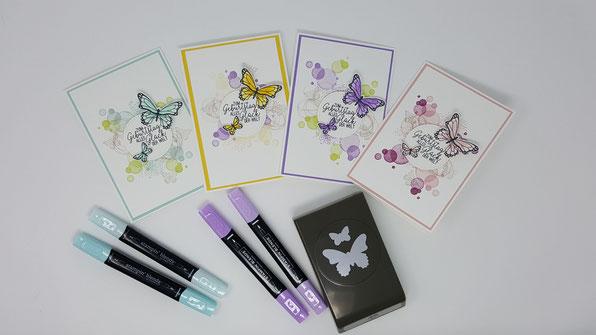 Frühjahr-/Sommerkatalog 2019, Stampin Up, Stempelkiste, Geburtstagskarte, Schmetterlingsglück, Stanze Schmetterlingsduett, Voller Schönheit