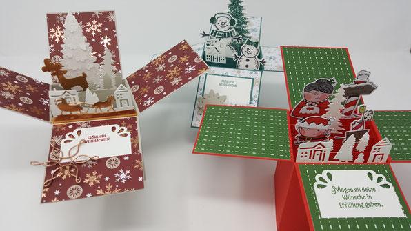 Würfelkarte, Box, Weihnachtskarte, Stampin' Up!, Stempelkiste