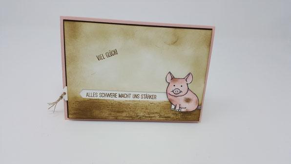 Glücksschwein, Geburtstagskarte, Stampin' Up!, Stempelkiste