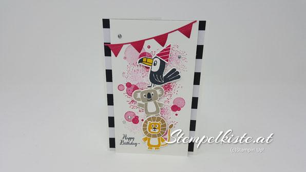 Bonanza Buddies, Koala, Schmetterlingsglück, Stampin Up, Geburtstag, Geburtstagskarte, Stempelkiste, Glückwunschkarte zum Geburtstag, Mädchen, Kinder