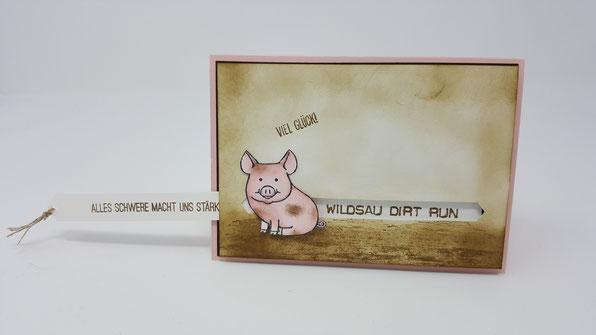 Wildsau Dirt Run, Gutschein, Geburtstagskarte, Schwein, Glück, Stampin' Up!, Stempelkiste, Ziehkarte