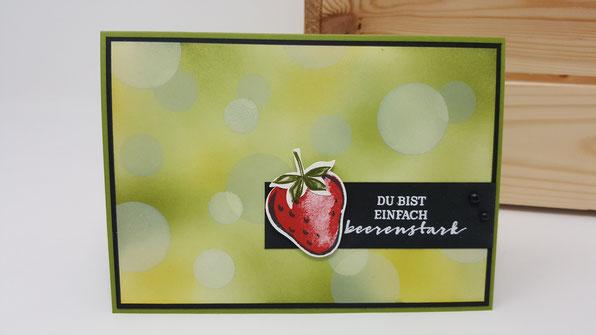 Erdbeere, Bokeh Technik, Glückwünsche, Geburtstag, Karte, Minikatalog, Stampin Up, Stempelkiste