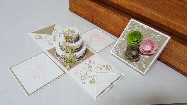 Explosionsbox; Torte; Hochzeitsgeschenk; Geschenkverpackung Hochzeit; Stampin' Up!