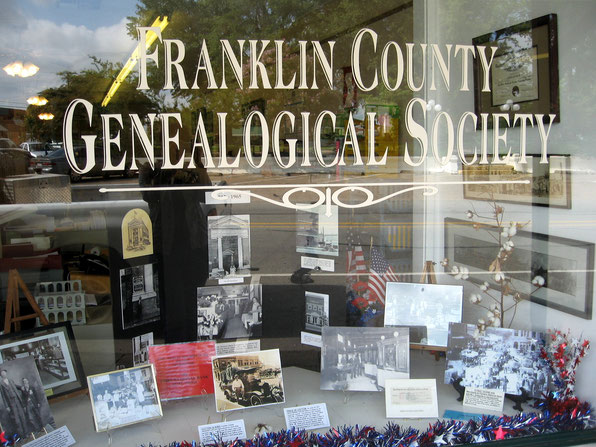 Front display window and sign of the Franklin County Genealogical Society Research Room