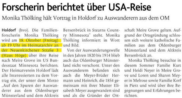 Bericht aus der Oldenburgischen Volkszeitung (OV) vom 07.10.2019
