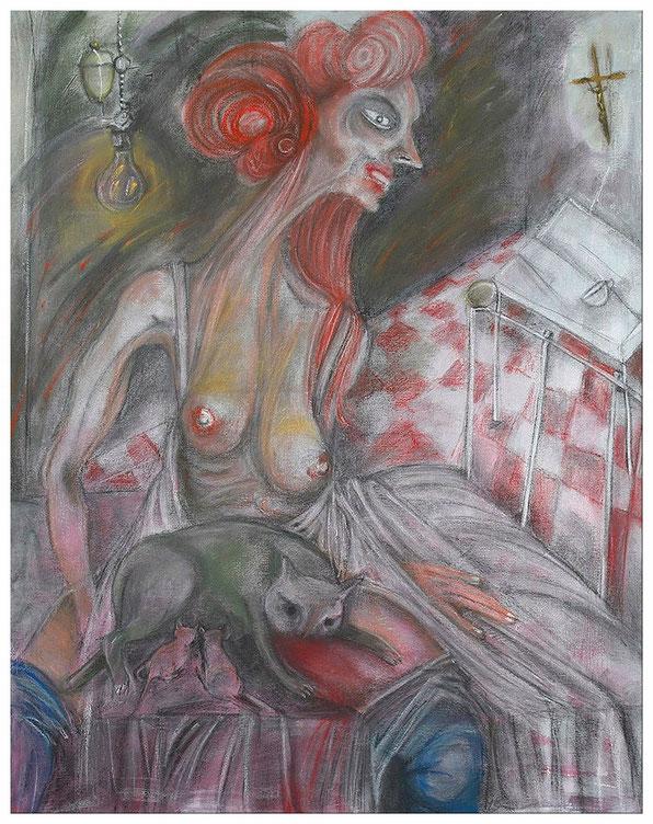 Peinture de Eloi Valat pastels et acrylique sur toile