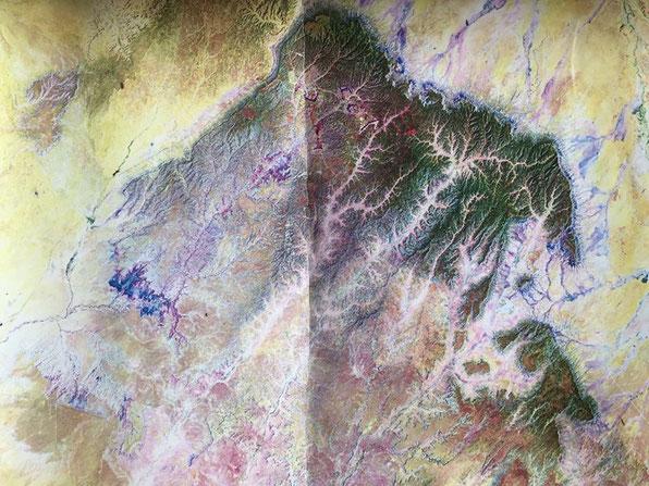 ホピメサの上空からの俯瞰