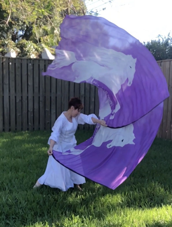 Flexible Silk Flag with a white horse, purple background