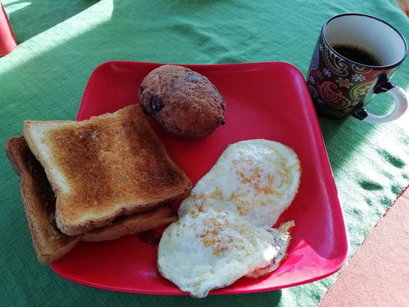 朝食。ハッシュドポテトおいしかった。