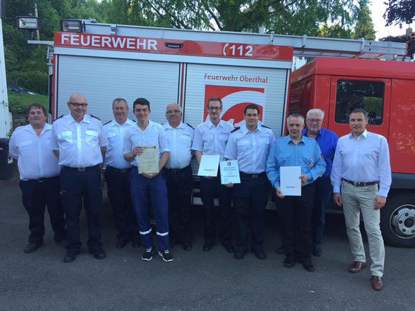 Löschbezirk Güdesweiler mit Bürgermeister Stephan Rausch und Ortsvorsteher Norbert Rauber