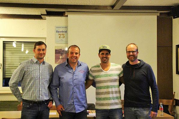 Der neue Vorstand v.l Benny Kirch, Tobias Federkeil, Manuel Setz, Christian Kasper
