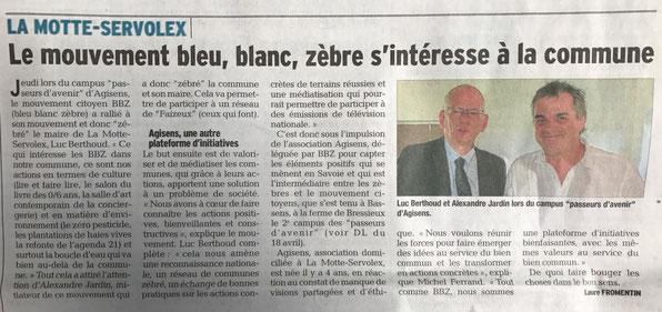 """Article Dauphiné Libéré suite au Campus """"Passeurs d'Avenir"""" du 13 avril 2017 , Les Zèbres s'intéressent à la commune de La Motte-Servolex"""