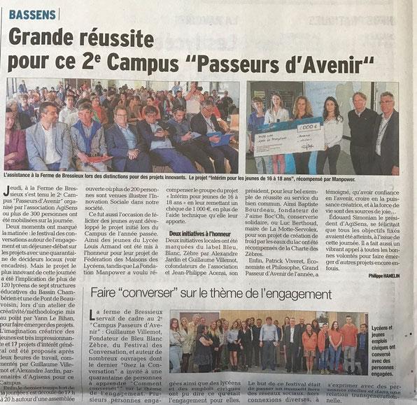 """Article du Dauphiné Libéré du 17 avril 2017 """"Grande Réussite pour ce 2ème Campus """"Passeurs d'Avenir"""""""