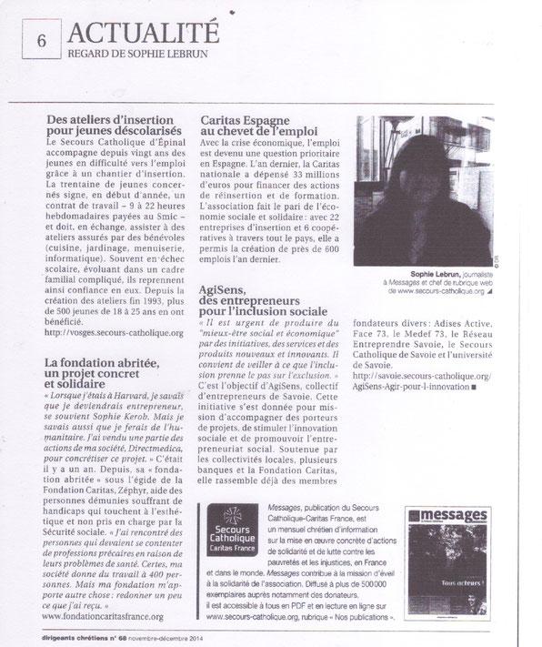 Article paru dans la revue Dirigeants Chrétiens en nov 2014 sur AgiSens