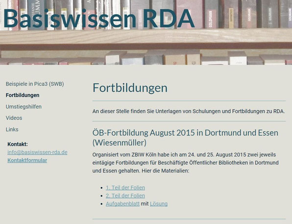 """Screenshot der Unterlagen zur Fortbildung im Bereich """"Zusatzmaterial"""" auf der Website"""