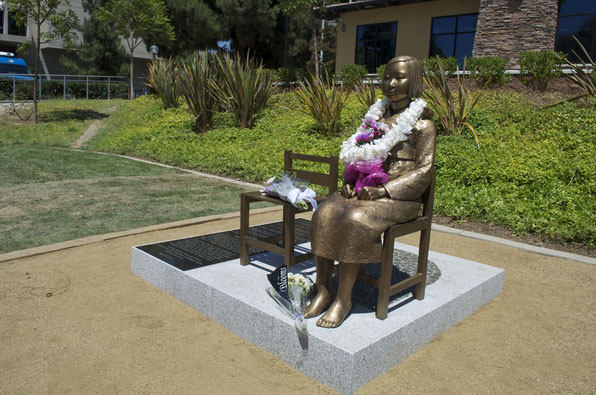 The comfort woman statue built in front of the Japanese Embassy in Seoul. Image from Flickr.