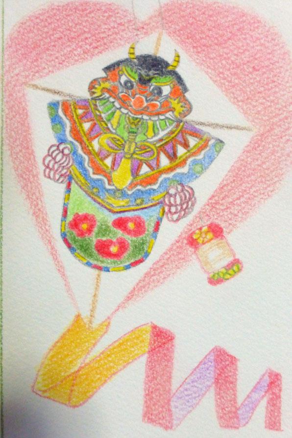 鬼に立ち向かう武士の兜の後ろ姿 羅生門の鬼退治の伝説を表現しいてる勇壮なバラモン凧