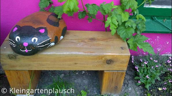 Steinkatze auf kleiner Massivholzbank, Katze hat rotbraunes Fell, weiße Pfötchen, einen dukelbraunen Kopf, rosa Zunge, weiße Schnurrhaare