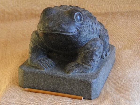 Kröte im Gartenteich. Kröte aus schwarzem Stein. Skulptur in Form einer kleinen Kröte aus Stein. Kröte aus Stein. Versteinerung. Versteinerte Kröte.
