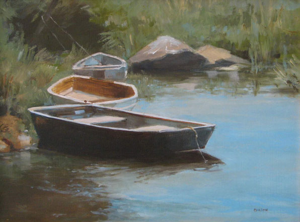 Boats at rest;oil on panel