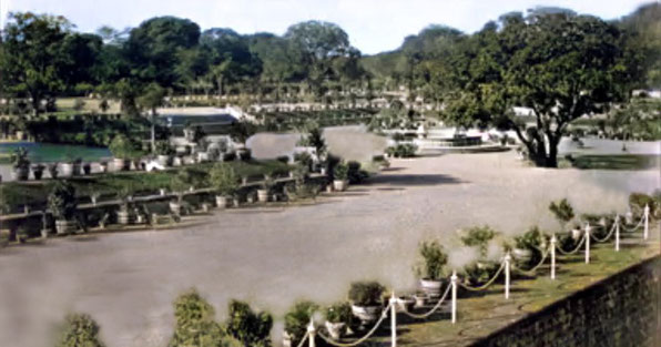 The Bund Gardens, Poona in the 1890s. Image colourized by Anthony Zois.