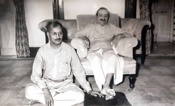 "Meher Baba with Dr. C.D. Deshmukhat ""Guruprasad"" Poona, India - May 1959. Courtesy of the Fereshteh Azad Collection."
