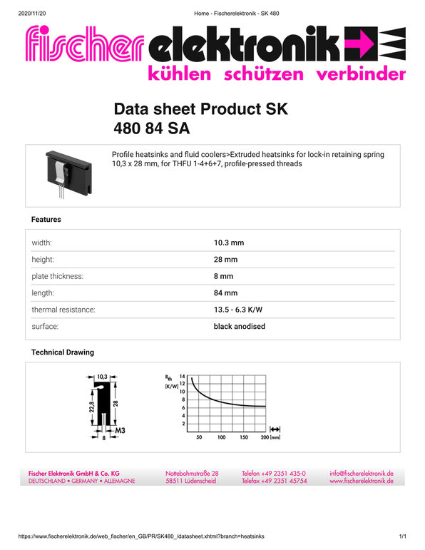 SK 480/84 SA Fischer /フィッシャー ヒートシンク トランジスタ用 クリップ専用タイプ