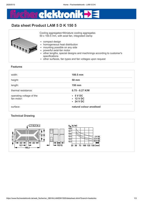 LAM 5 D K 150 5 Fischer /フィッシャー 軸流ファン付 ヒートシンク