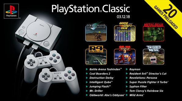 """""""Se observa el PlayStation Classic Mini a la izquierda, a la derecha todos los juegos que incluirá"""""""