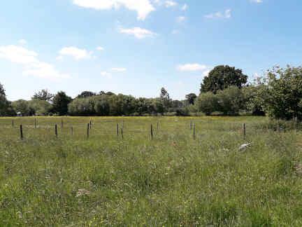 terrain nu à la campagne avec une ferme en arrière plan