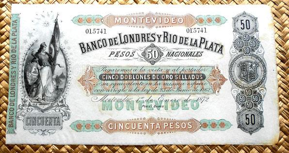 Uruguay 50 pesos 1872